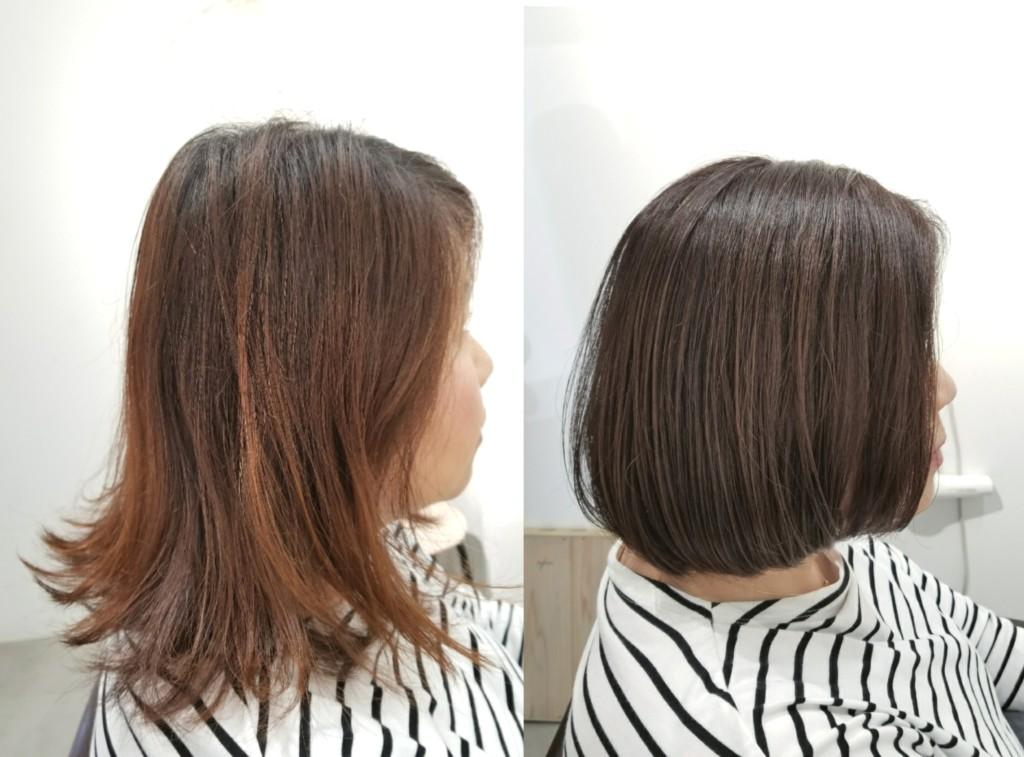 オレンジに色抜けしやすい毛先を、透明感のある色で白髪染め!