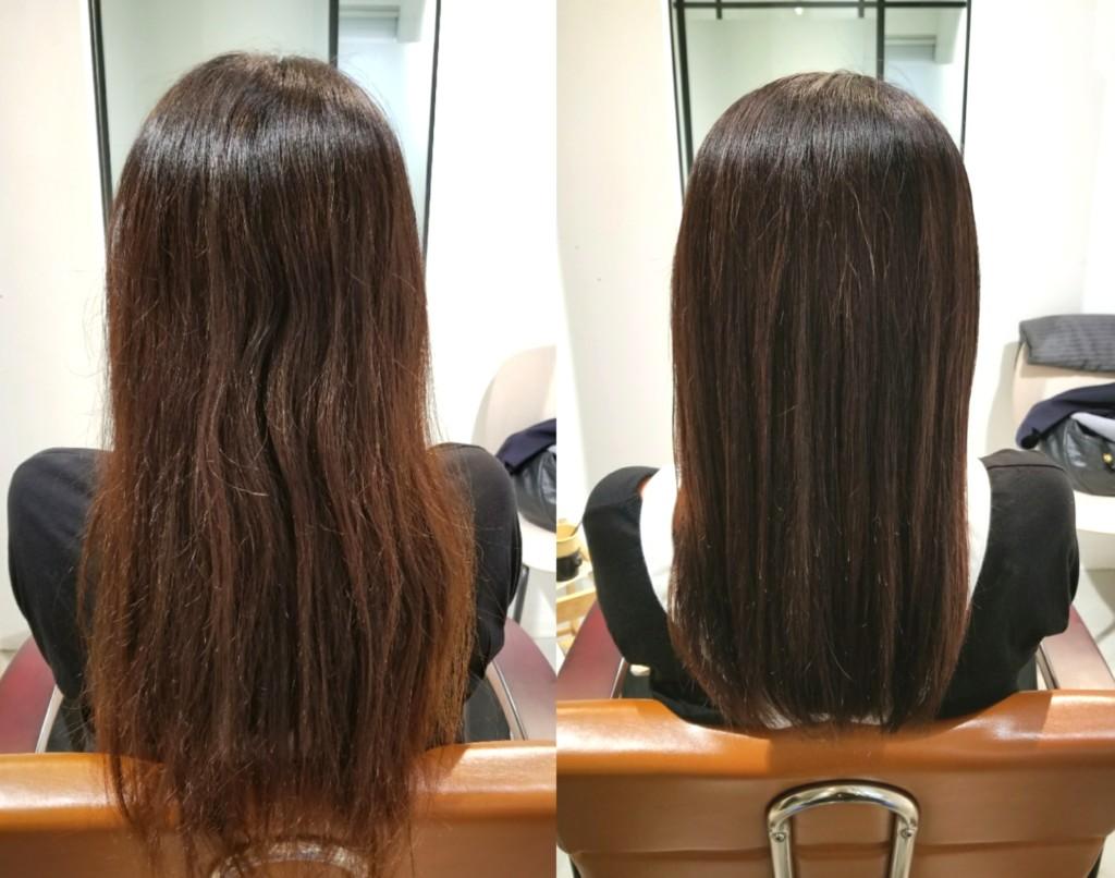 根本は白髪を染めて、黄色く色抜けした髪にツヤを出すカラーリング!